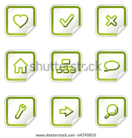 Basic web icons, green stickers series - stock vector