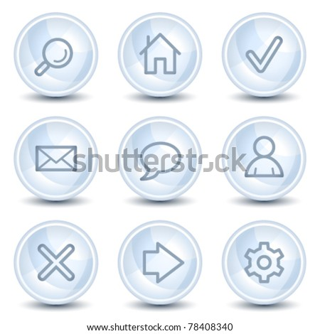 Basic web icons, light blue glossy circle buttons - stock vector