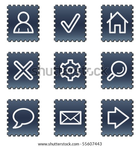 Basic web icons, navy stamp series - stock vector