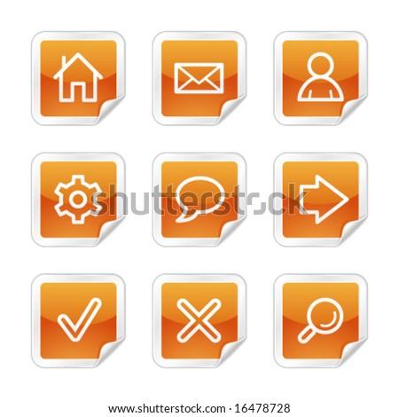Basic web icons, orange glossy sticker series - stock vector