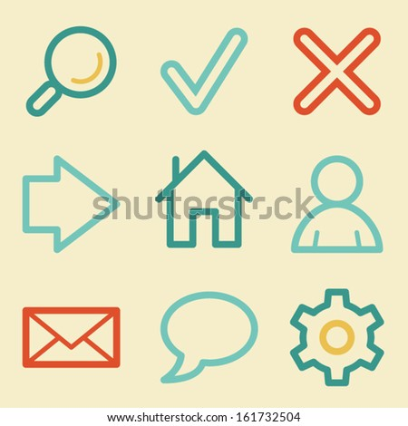 Basic web icons, retro colors - stock vector