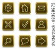 Basic web icons, square brown buttons - stock vector