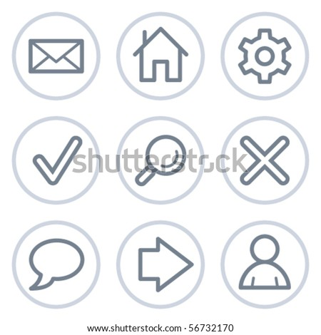 Basic web icons, white circle series - stock vector