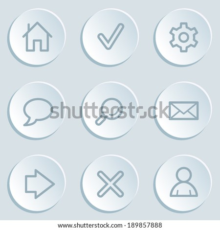 Basic  web icons, white sticker buttons - stock vector