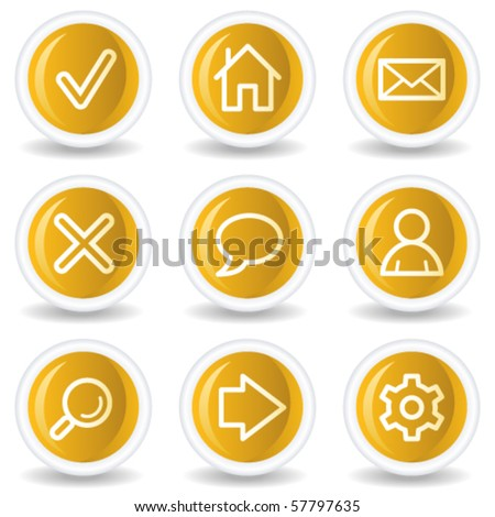 Basic web icons, yellow glossy circle buttons - stock vector