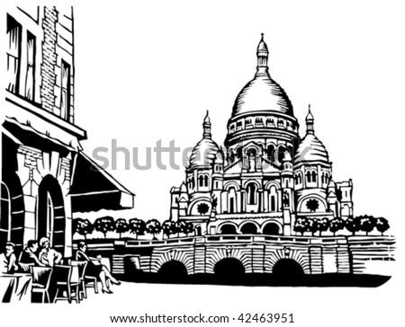 Basilique du Sacre Coeur, Paris - stock vector