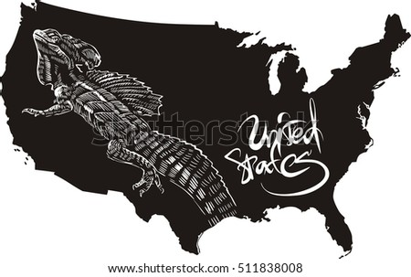Basilisk And U S Outline Map Black And White Vector Ilration