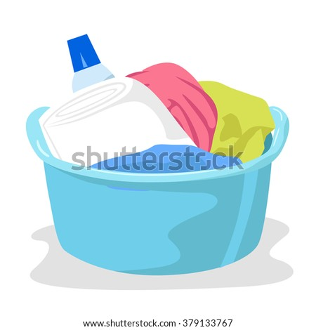 basin full of laundry and detergents