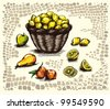 basket and ripe fruit - stock vector