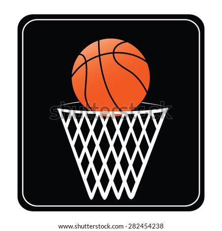basket ball and white net and black board - stock vector