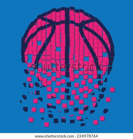 Basket ball illustration , t-shirt graphics, sport - stock vector