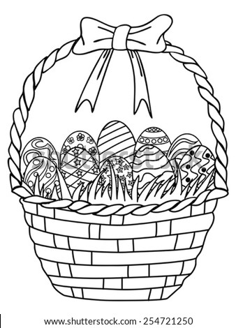 Basket of Easter eggs outline,coloring page - stock vector