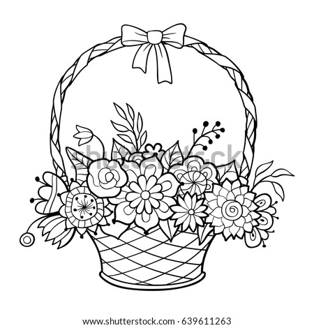 Basket Flowers Handle Decorated Ribbon Bow Stock Vector 639611263