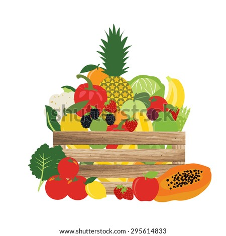 Basket of natural, fruit and vegetable, food vector illustration