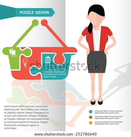 Basket puzzle info graphic design and character,clean vector - stock vector