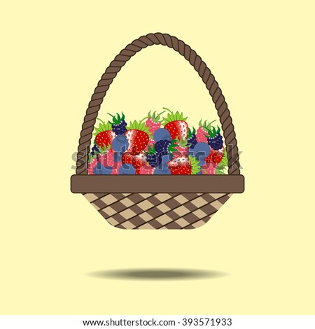 Basket with berries. Strawberry, raspberry, blueberry, blackberry. Vector illustration