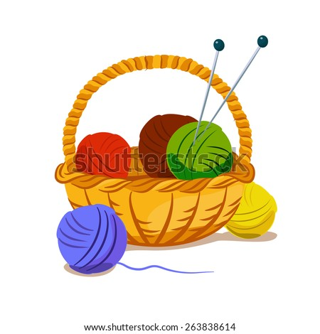basket with colored balls of yarn and knitting needles - stock vector