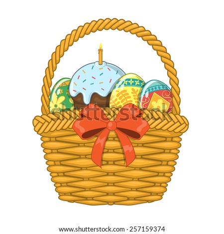 Basket with Easter eggs and cake. Design element isolated on white. Eps 10 vector illustration. - stock vector