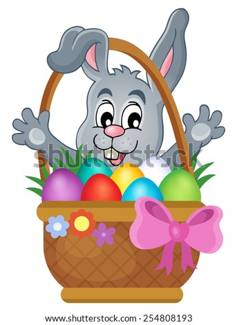 Basket with Easter eggs and happy bunny - eps10 vector illustration.