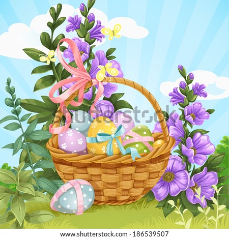 Basket with Easter eggs on the lawn with herbs