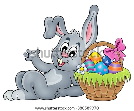 Basket with eggs and Easter bunny 2 - eps10 vector illustration.
