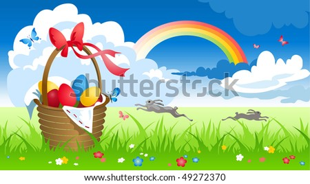 Basket with eggs in spring meadow - stock vector