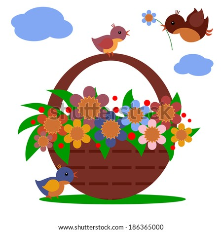 Basket with flowers. - stock vector