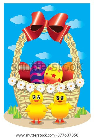 Basket with red bow, Easter eggs and baby chicks.