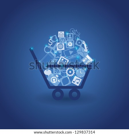basket with shopping. vector background. eps10 - stock vector