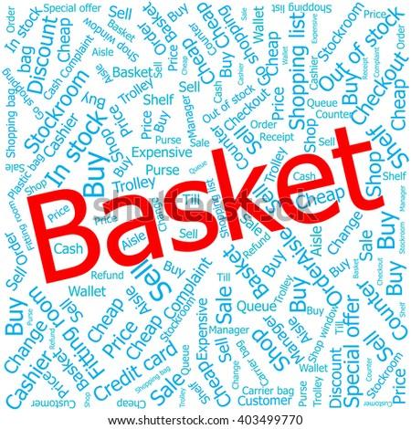 basket,Word cloud art background - stock vector