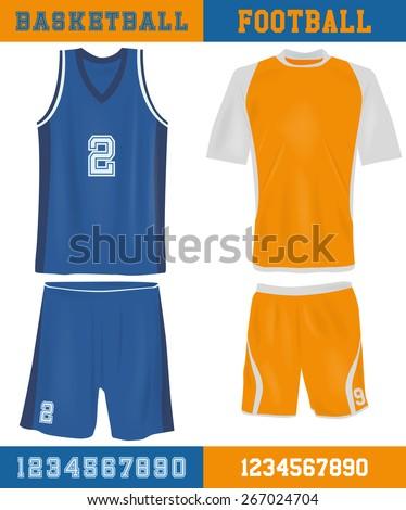 Basketball and football equipment - stock vector