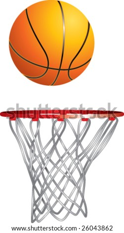 basketball and hoop - stock vector