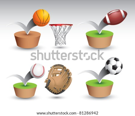 Basketball and hoop, football, baseball and glove, and a soccer ball bouncing on green platform on white backdrop - stock vector