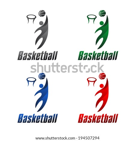 Basketball athlete color kit, sports icons, vector illustration - stock vector