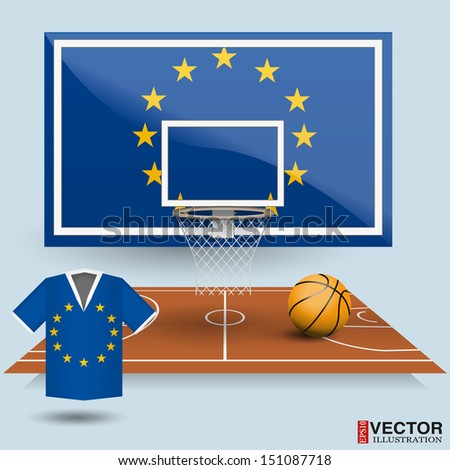 Basketball backboard, basket, court, ball and t-shirt in the colors of the Europe Union. flag - stock vector