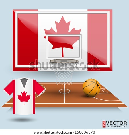 Basketball backboard, basket, court,  ball and t-shirt in the colors of the flag of Canada - stock vector