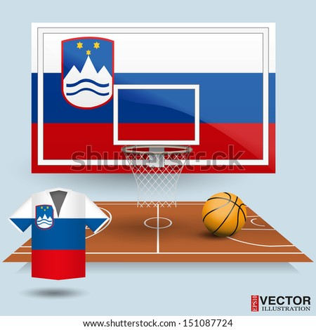 Basketball backboard, basket, court, ball and t-shirt in the colors of the Slovenia flag - stock vector