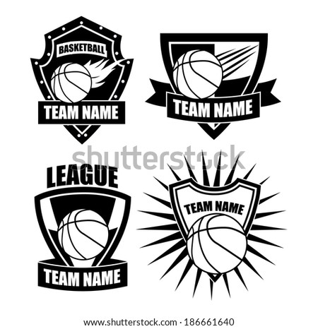 Basketball badge icon symbol set EPS 10 vector, grouped for easy editing. No open shapes or paths. - stock vector