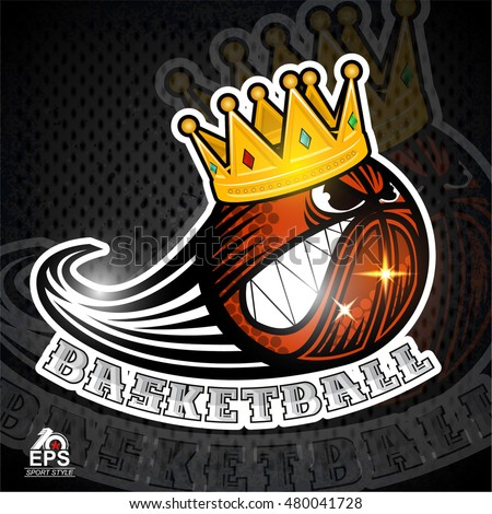 Basketball ball angry character with golden crown. Sport logo for any team