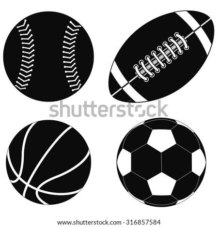 Basketball ball, Baseball ball, American football ball, Soccer ball.  Vector isolated on white background. - stock vector