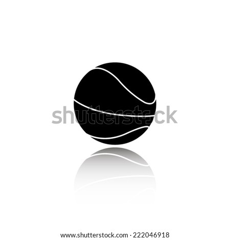 Basketball ball icon - black vector illustration with reflection - stock vector