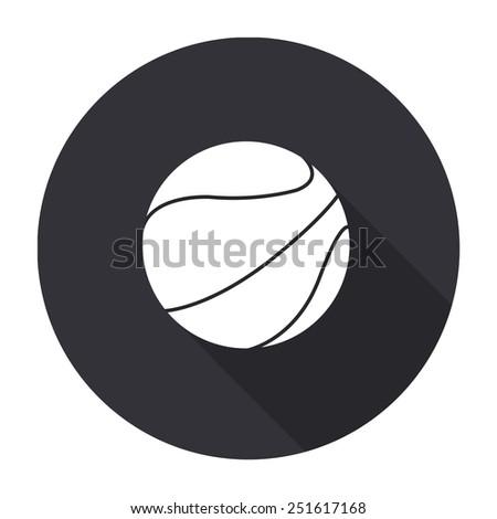 basketball ball icon with long shadow - vector round button - stock vector