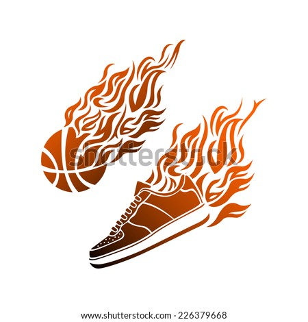 Basketball ball in flame sneakers vector art icon color - stock vector