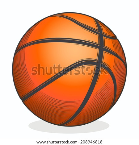 Basketball ball isolated on a white background. Color line art. Fitness symbol. Vector illustration - stock vector