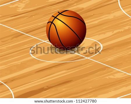 Basketball ball on court background. Vector illustration. - stock vector