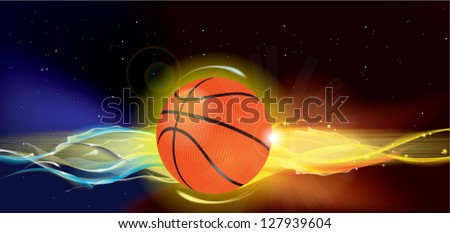 Basketball Ball on Fire in space, outer space - stock vector