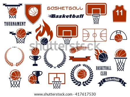 Basketball balls, courts, baskets on backboards, winner trophies and jersey icons for sport club or team design supplemented by heraldic shield, wreaths and ribbon banners, flames and stars - stock vector