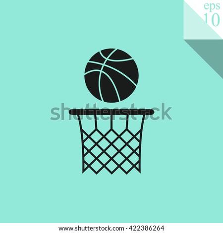 Basketball basket and ball Icon. - stock vector