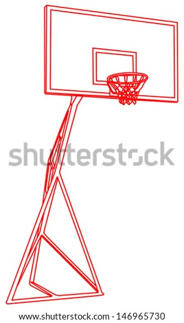 Basketball basket red line construction vector isolated on white background , play ground  - stock vector