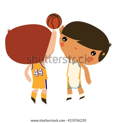 basketball boys. kids playing with a ball. characters wearing jerseys. - stock vector